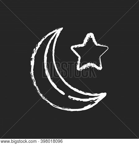 Star And Crescent Chalk White Icon On Black Background. Great Symbol Of Islam. Religious Teaching Th