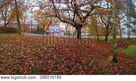 Chomutov, Czech Republic - November 15, 2020: Autumn In Blatenska Street Named Zatisi