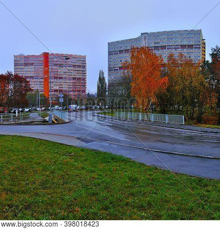 Chomutov, Czech Republic - November 15, 2020: Way To Houses Named Experimenty
