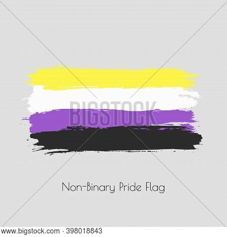Non-binary Lgbt Vector Watercolor Flag. Hand Drawn Ink Dry Brush Stains, Strokes, Stripes, Horizonta