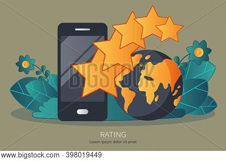 Concept Of Feedback, Testimonials Messages And Notifications. Rating On Customer Service Illustratio