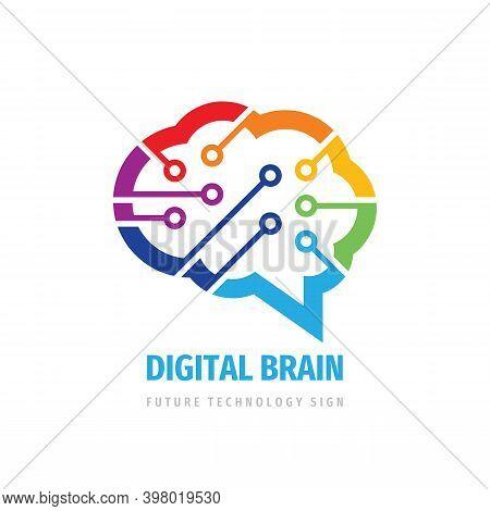 Brain Digital Logo. Mind Intellect Concept Sign. Computer Network Logo Symbol. Creative Idea Inspira