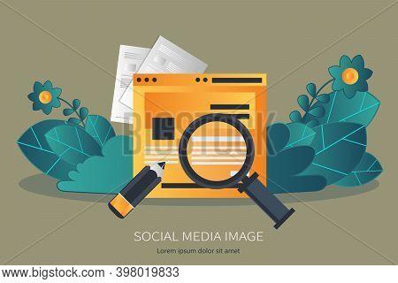 Social Media Marketing Flat Illustration -- Stock Illustration