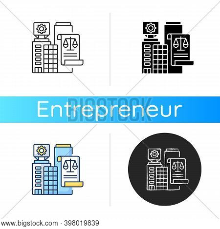Legal Entity Icon. Linear Black And Rgb Color Styles. Modern Entrepreneurship, Business Office Rent