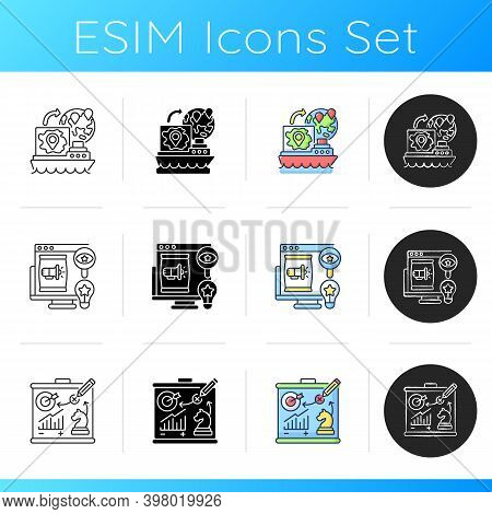 Entrepreneurship Icons Set. Linear, Black And Rgb Color Styles. Export Business, Branding And Market
