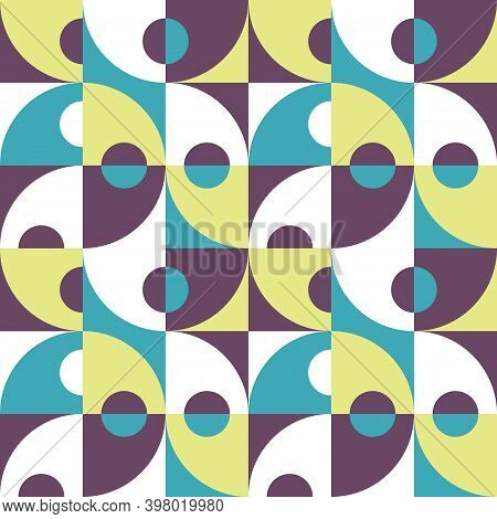 Background Vector Abstract Design. Geometric Seamless Pattern In Lilac,   Blue, Green, White Colors.