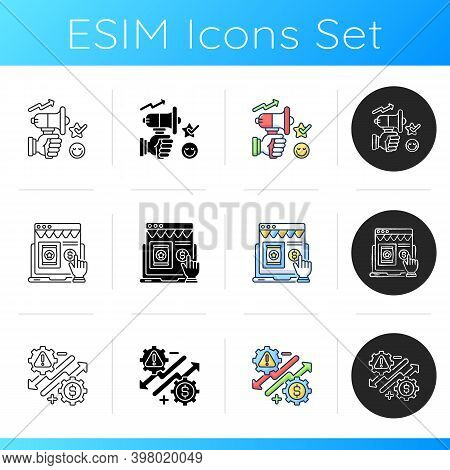 Commercial Business Icons Set. Linear, Black And Rgb Color Styles. Trading And Financial Services. B
