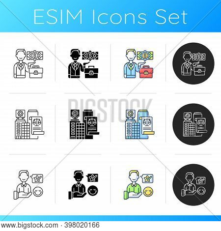 Legal Business Icons Set. Linear, Black And Rgb Color Styles. Successful Businessman, Commercial Com