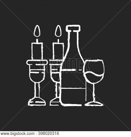 Kosher Wine Chalk White Icon On Black Background. Jewish Holidays And Rituals. Passover Seder. Festi