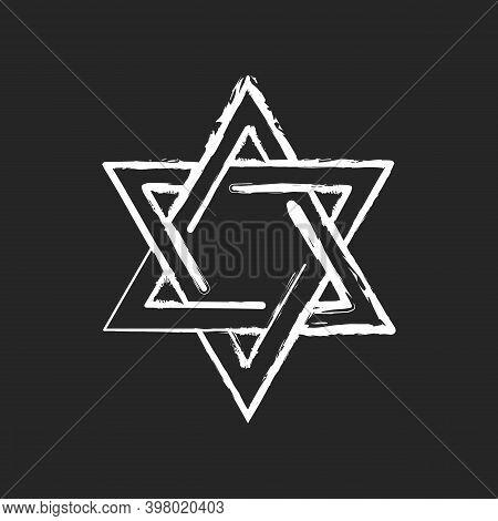 David Star Chalk White Icon On Black Background. Judaism Symbol. Central Symbol On Israeli Flag. Mag