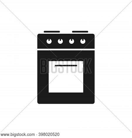 Kitchen Stove Icon, Gas Stove Silhouette Isolated Illustration. Kitchen Equipment Sign.