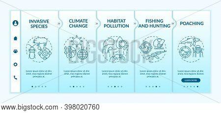 Ecological Damage Onboarding Vector Template. Invasive Species. Climate Change. Habitat Pollution. R