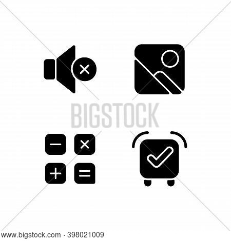 Smartphone Interface Black Glyph Icons Set On White Space. Silent Mode Setting. Photo Gallery. Calcu