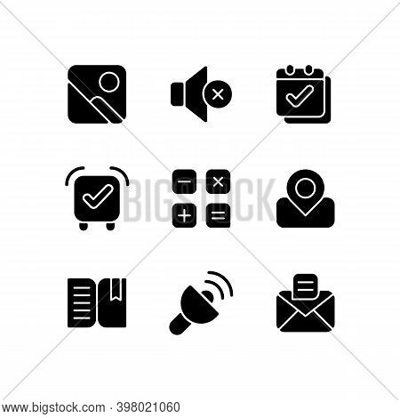 Smartphone Interface Black Glyph Icons Set On White Space. Photo Gallery. Silent Mode Setting. Calen