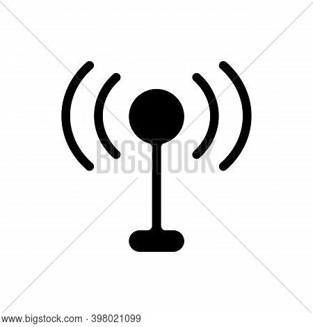 Mobile Networks App Black Glyph Icon. Antennas. Cell Towers. Wireless Internet. 3g, 4g Network Featu
