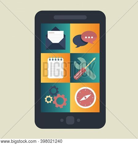 Mobile Application And Mobile App Development Concept. Project Development And Business Ideas. Flat