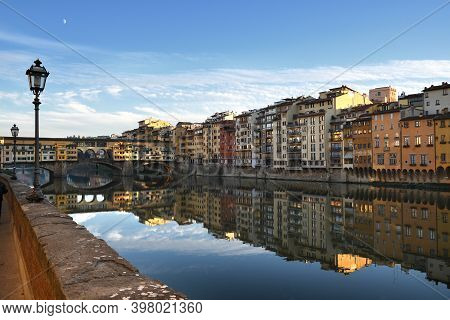 The Famous Old Bridge Over Arno River In Florence, Italy.