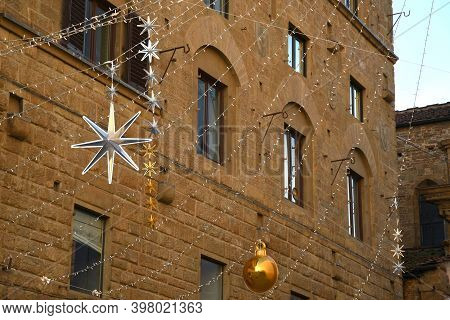 Particular Of Christmas Decorations In Florence, Italy.
