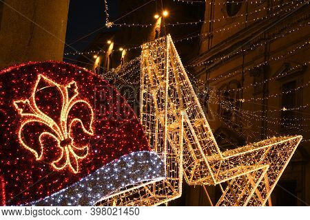 Christmas Decoration In The Center Of Florence. Via Tornabuoni, The Fashion Street In The Historic C