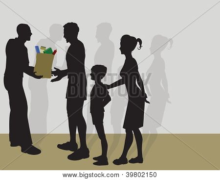 Giving Food to A Family
