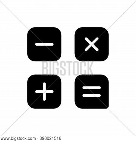 Calculator App Black Glyph Icon. Arithmetic Operations. Performing Calculations. Addition, Subtracti