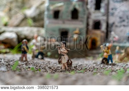 Miniature Of A Peasant On A Neapolitan Nativity Scene. The Art Of Neapolitan Nativity Of S. Gregorio