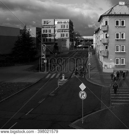Chomutov, Czech Republic - November 29, 2020, 14:51 - Sunset In Farskeho Street