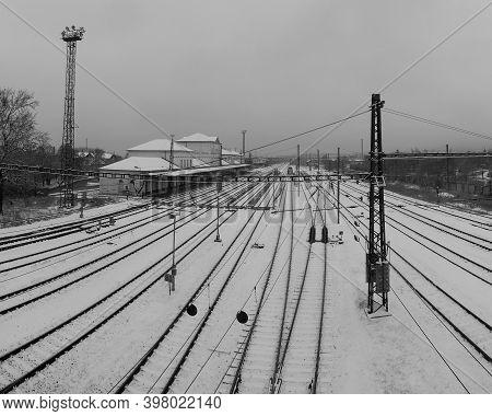 Chomutov, Czech Republic - December 01, 2020, 13:58 - Snow On Train Station