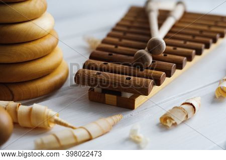Xylophone Is Made Of Natural Wood. Wooden Sticks For Musical Instruments. Musical Instrument Made Of