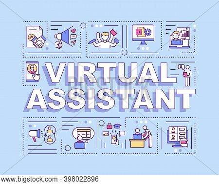 Virtual Assistant Word Concepts Banner. Independent Contractor. Administrative Services. Infographic