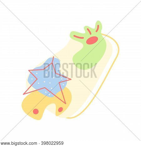 Festive Winter Ornament Flat Vector Concept Illustration With Abstract Shapes. Merry Christmas. Happ