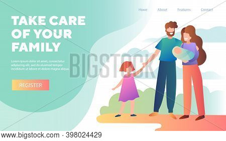 Take Care Of Family. Young Family With Newborn Baby. Happy Family, Relationship Concept. Cartoon Vec