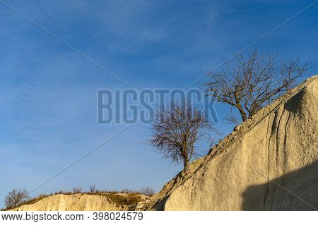 Limestone cliff with trees on the top against the blue sky at limestone quarry