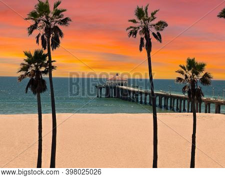 View of Manhattan Beach pier with sunset sky in scenic Southern California.
