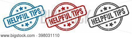 Helpful Tips Stamp. Helpful Tips Round Isolated Sign. Helpful Tips Label Set