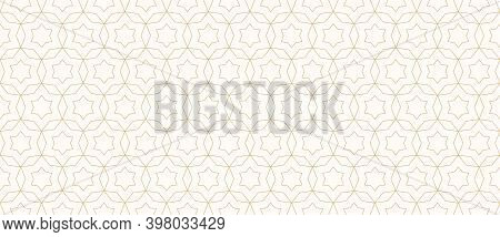 Vector Abstract Geometric Seamless Pattern. Golden Lines Texture With Grid, Stars, Diamonds, Floral