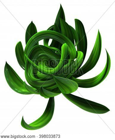 Plant Vines Green Growing Twisting Ball Unwrap, 3d Illustration, Horizontal, Isolated, Over White