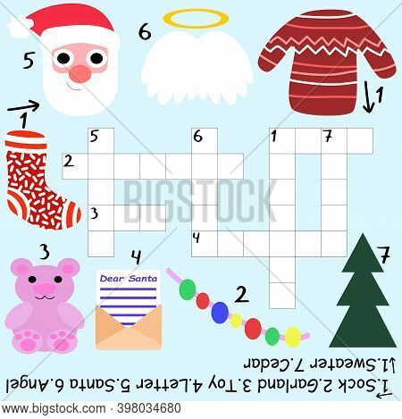 Santa Claus Crossword For Kids Stock Vector Illustration. Educational Funny Word Game With Answer Fo