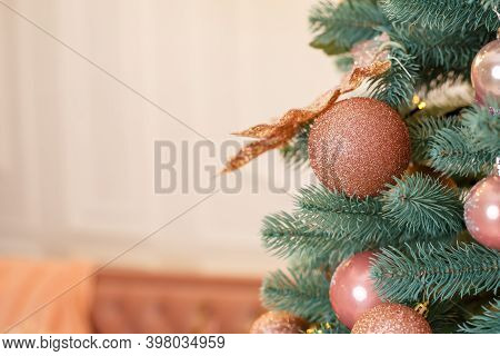 Christmas Tree With Pink Toys In A White Christmas Room. Beautifully Decorated House With A Decorate