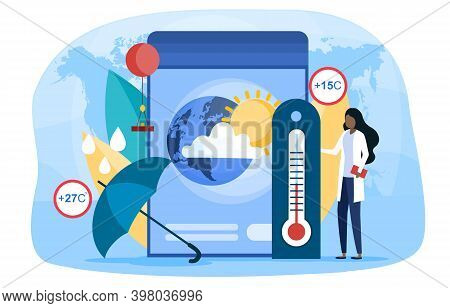 Abstract Concept Of Meteorology. Meteorology Online Service Or Platform. Weather Forecaster Studying
