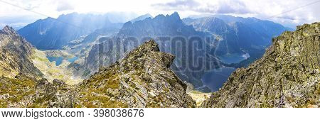 Panorama Of High Tatras Mountains. View From Mt Rysy (2503m) On The Border Between Slovakia (left) A