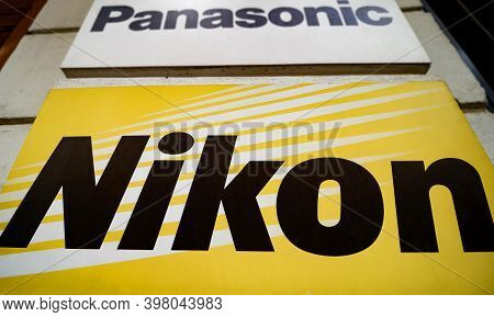 Bucharest, Romania - June 22, 2020: The Nikon Logo Of The Japanese Corporation Known For The Product