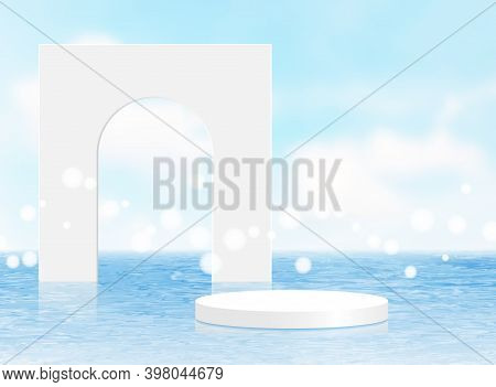 Background Vector 3d Blue Rendering With White Podium And Minimal Summer Scene With Water Sea, Minim