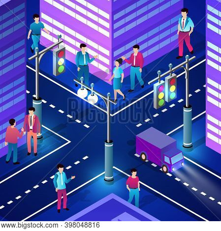 City Downtown Center Night Neon Ultraviolet Walking People Of Isometric Buildings Houses With Street