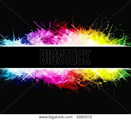 Watercolor aged background with detailed ink splatters. Shiny rainbow colors with celebration stars. Central stripe composition. poster