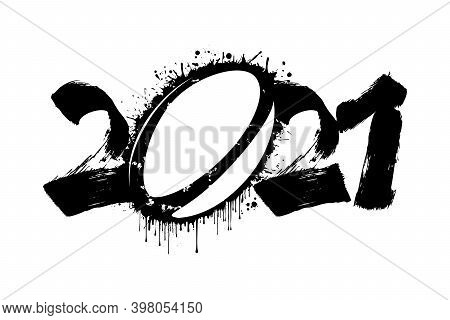 Abstract Numbers 2021 And Rugby Ball Made Of Blots In Grunge Style. 2021 New Year On An Isolated Bac