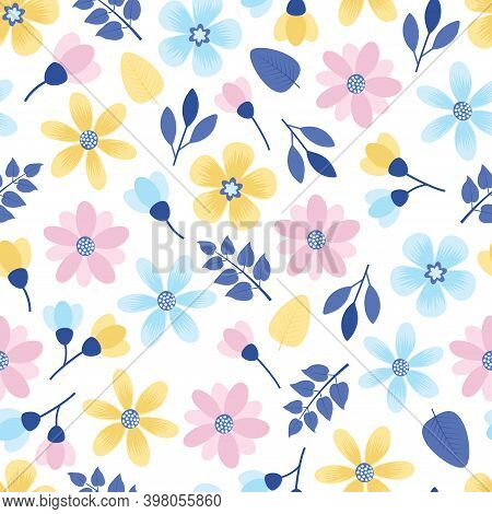 Artistic Trendy Vector Seamless Floral Ditsy Pattern Design. Modern Stylish Repeating Blooming Flowe