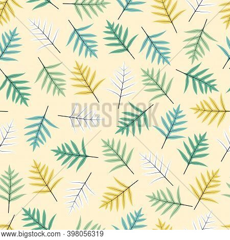 Modern Fashionable Seamless Graphic Ditsy Pattern Design Of Tropical Exotic Monarch Fern Leaves. Art
