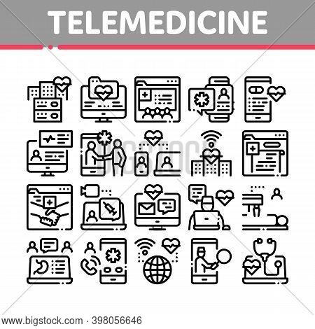 Telemedicine Treatment Collection Icons Set Vector. Patient Online Medical Exam And Telemedicine, In