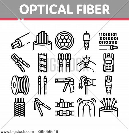 Optical Fiber Cable Collection Icons Set Vector. Fiber Repair Instrument And Electrical Device For T